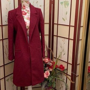 Forever 21 cranberry color collared coat 🧥